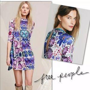 Free People Dresses - FREE PEOPLE FIESTA FLORAL MOCK NECK DRESS SZ XS
